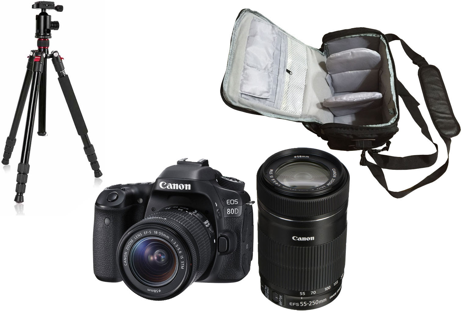 Canon Eos 80d 18 55 250 Camera Bag Tripod Kit Wi Fi Dslr With 200mm 250mm Next Day Delivery